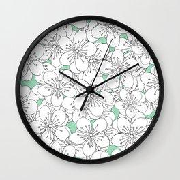 Cherry Blossom With Mint Blocks - In Memory of Mackenzie Wall Clock