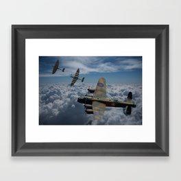 Lancaster Bomber and Spitfires Framed Art Print
