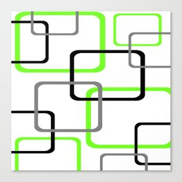 Geometric Rounded Rectangles Collage Lime Green Canvas Print