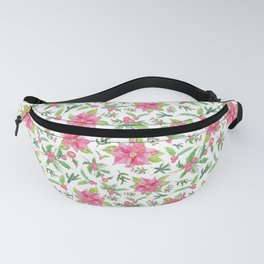 Holiday Poinsettias and Mistletoes in White Backdrop Fanny Pack