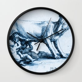 Roman wolf with Romulus and Remus, according to Giulio Romana Wall Clock