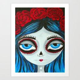 Muertos Girl in Blue Art Print