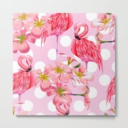 The Pink Flamingo's Party Metal Print