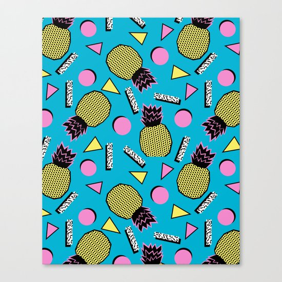 Primo - memphis retro throwback 1980s 80s neon style pop art wacka designs pineapple tropical fruit Canvas Print