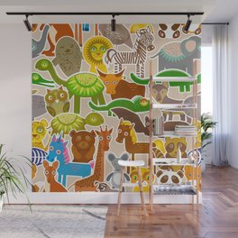 collection Funny cartoon Animals seamless pattern on beige background. Vector Wall Mural