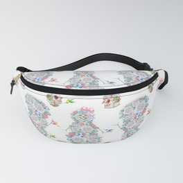 Floral snowman with hummingbirds and birdhouse Fanny Pack