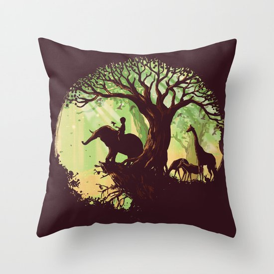 The jungle says hello Throw Pillow