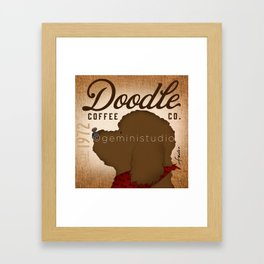 Doodle Coffee Company goldendoodle labradoodle artwork by Stephen Fowler Framed Art Print