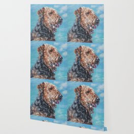 Airedale Terrier dog portrait from an original painting by L.A.Shepard Wallpaper