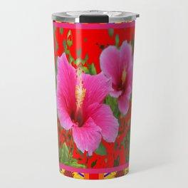TROPICAL RED-PINK HIBISCUS FLOWERS PATTERNS Travel Mug