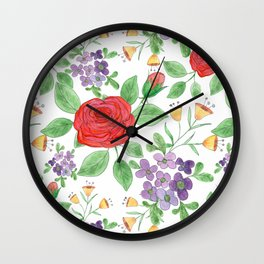 Watercolor floral pattern .8 Wall Clock