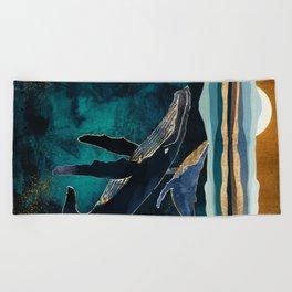 Moonlit Whales Beach Towel