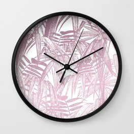 Vintage Pink Tropical Palm Leaf Pattern Wall Clock
