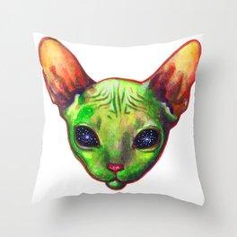 Alien sphynx cat Throw Pillow
