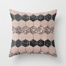 Blush Hexagon Glitter Glam #1 #geometric #decor #art #society6 Throw Pillow