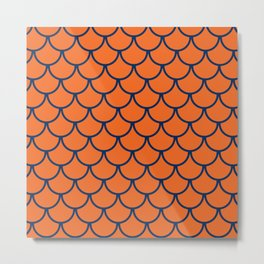 Orange & Blue Fish Scales Pattern Metal Print