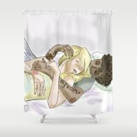 les miserables Shower Curtains featuring Sleeping pRouvaire Les Mis by Pruoviare