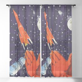 Gagarin space art #7 Sheer Curtain