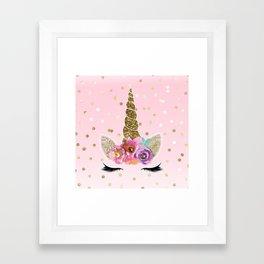 Floral Trendy Modern Unicorn Horn Gold Confetti Framed Art Print