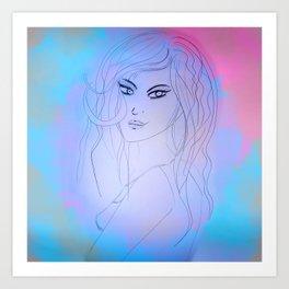 Girl, watercolour Art Print