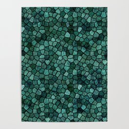 Oceanic Mosaic Crust Texture Abstract Pattern Poster