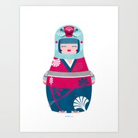 geisha Art Prints featuring Geisha by Piktorama