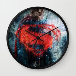 Superman Stare - Wall Art, Print, Home Decor, Dorm Decor, Impressionism, Painting Wall Clock