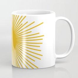 Mid Century Modern Sunburst Sun in Mustard and White Coffee Mug