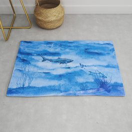 Great white in blue Rug