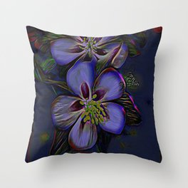 Floral Embosses: Double Columbine 01-02 Throw Pillow