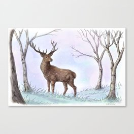 Stag in Winter Canvas Print