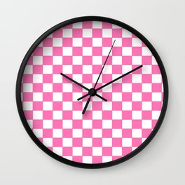 Checkers - Pink and White Wall Clock