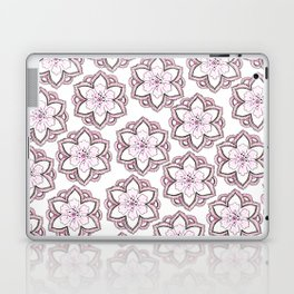 Original pencil hand drawn pink white floral pattern Laptop & iPad Skin
