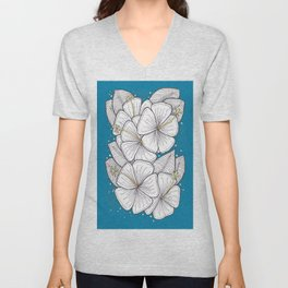 Zentangle Blue and Gold Hibiscus Blossoms for Flower Lovers Unisex V-Neck