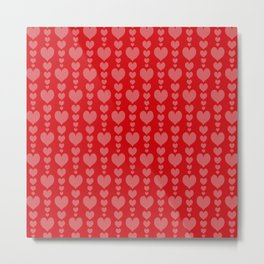 Red Background with Pink Hearts Valentines Day Love Metal Print
