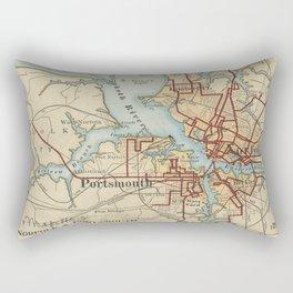 Vintage Map of Norfolk and Portsmouth VA (1919) Rectangular Pillow