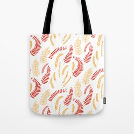 Leaves pattern in red and yellow Tote Bag