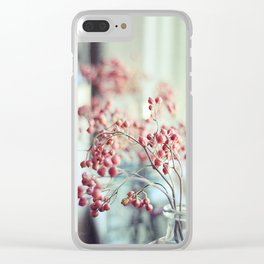 Rose Hips in a Window Still Life Autumn Botanical Clear iPhone Case