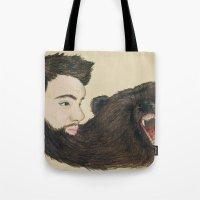beard Tote Bags featuring BEARd by Casie Tanksley