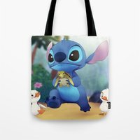 lilo and stitch Tote Bags featuring Stitch by beastace