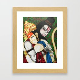 Painting of Lord Ram and Hanuman / Painting of Monkey King / Original painting of Amrita Gupta Framed Art Print