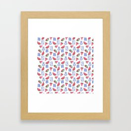 Melons and Jugs Pattern, White Framed Art Print