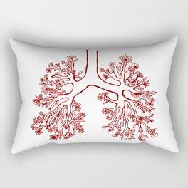 Floral Anatomical Lungs Illustration Rectangular Pillow
