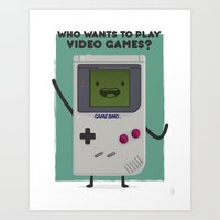 beemo Art Prints featuring Game Beemo (BMO) by Sour Pickle