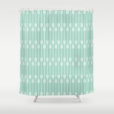 White Arrows on Mint Shower Curtain
