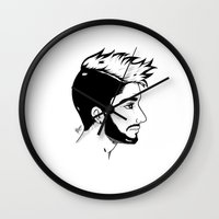 zayn Wall Clocks featuring Zayn by Julieta Cabrera