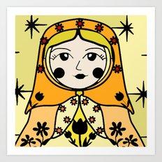 Matryoshka russian doll colorful illustration wall decor - Ana Art Print