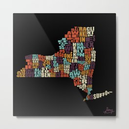Counties Of New York Metal Print
