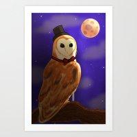 Classy Owl Art Print