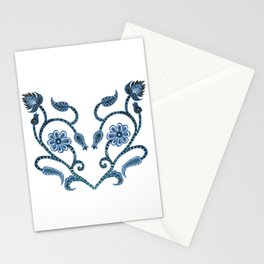 Blue Paisley Heart Stationery Cards
